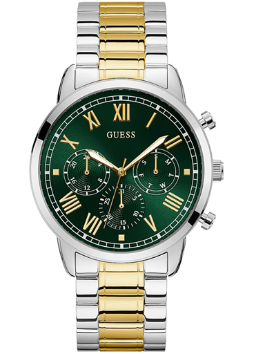 guess men's analog watch with stainless steel strap, silver-GW0066G2
