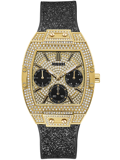 womens raven champagne dial genuine leather & silicone analogue watch-GW0105L2