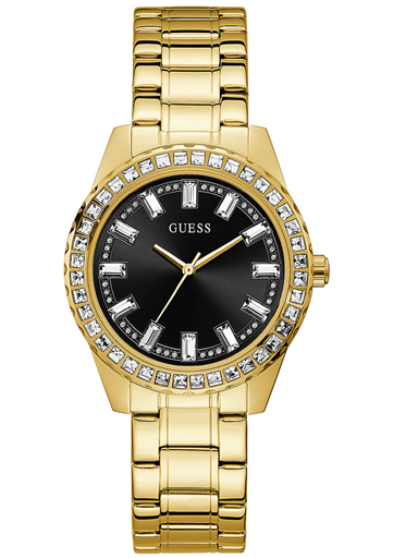 womens sparkler black dial stainless steel analogue watch-GW0111L2