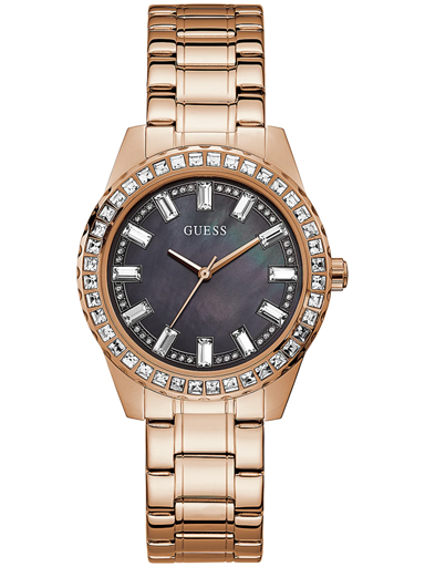 womens sparkler black dial stainless steel analogue watch-GW0111L3
