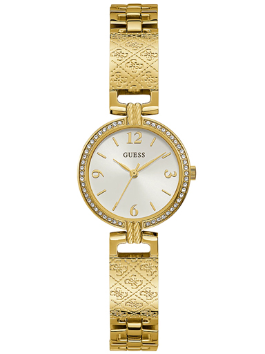 womens mini luxe white dial stainless steel analogue watch-GW0112L2