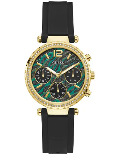 Womens SOLSTICE Animal Print Dial Silicone Analogue Watch-GW0113L1