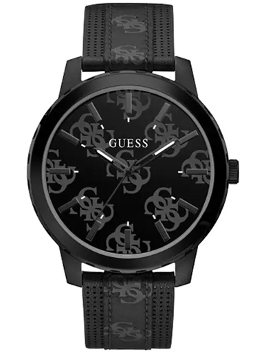 mens outlaw black dial genuine leather analogue watch-GW0201G2