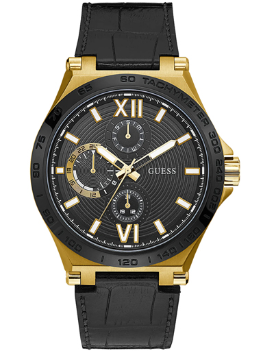 mens renegade black dial genuine leather analogue watch-GW0204G1