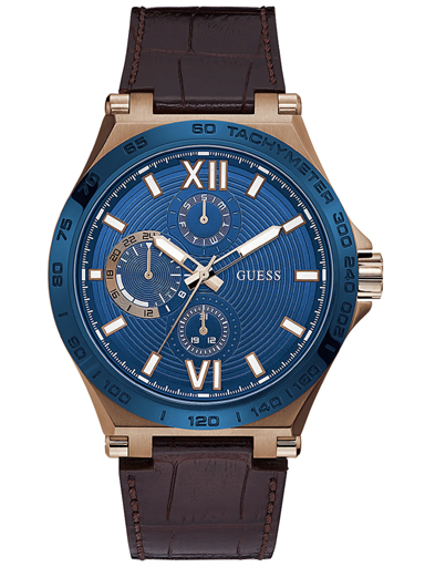 mens renegade blue dial genuine leather analogue watch-GW0204G2