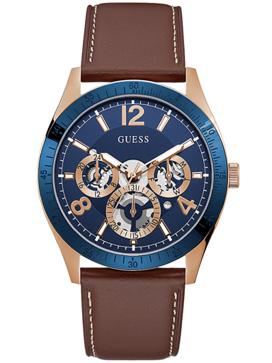 mens vector blue dial genuine leather analogue watch-GW0216G1