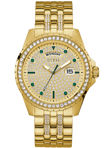 guess watches comet mens analog quartz watch with stainless steel bracelet-GW0218G2
