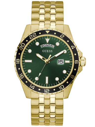 Gold-Tone And Green Sport Watch-GW0220G2