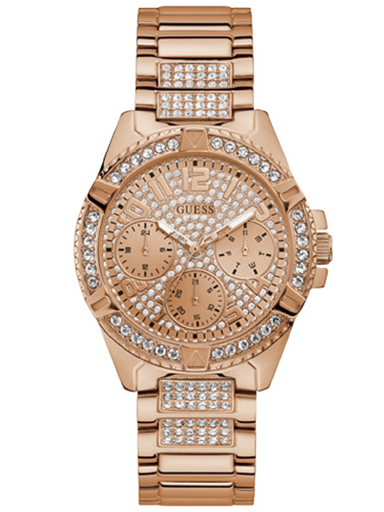 guess analog rose gold dial women's watch-W1156L3
