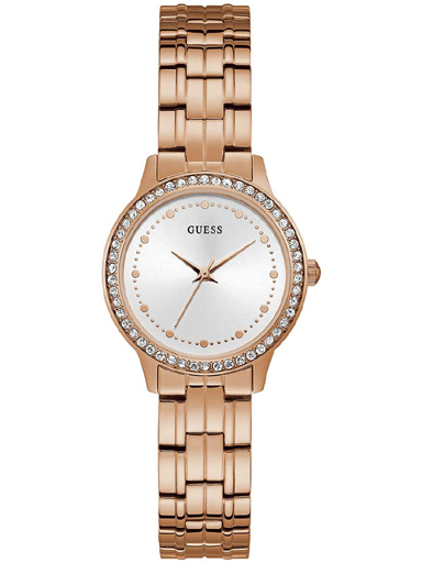 womens chelsea white dial stainless steel analogue watch-W1209L3