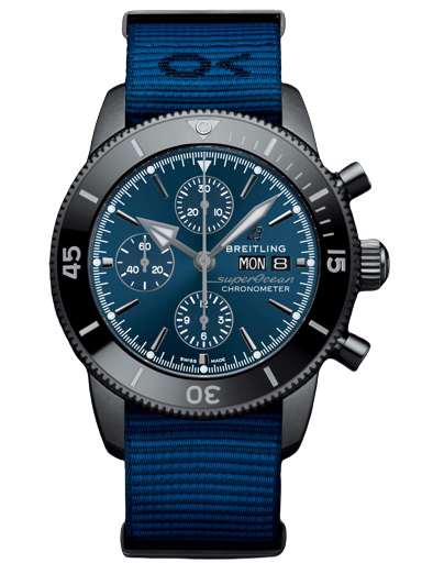 Breitling Superocean Heritage Chronograph 44 Outerknown DLC-Coated Stainless Steel Blue Watch-M133132A1C1W1