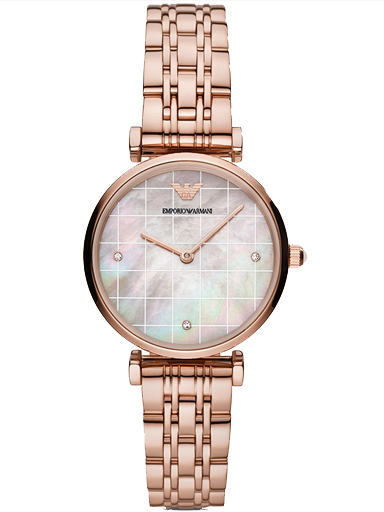 emporio armani two-hand rose gold-tone stainless steel watch-AR11385I