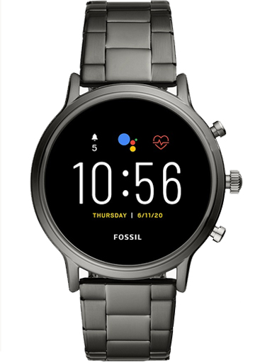 fossil gen 5 smartwatch the carlyle hr smoke stainless steel watch-FTW4024I