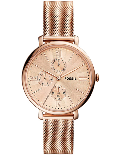 fossil jacqueline multifunction rose gold-tone stainless steel mesh watch-ES5098
