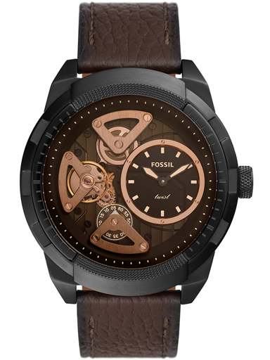 fossil bronson twist brown leather watch-ME1172