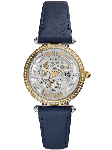 fossil lyric automatic navy leather watch-ME3199