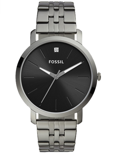 fossil lux luther three-hand smoke stainless steel watch-BQ2419I