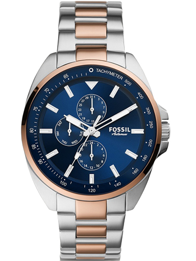 fossil autocross multifunction two-tone stainless steel watch-BQ2552I