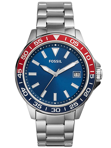 fossil bannon three-hand date stainless steel watch-BQ2505I
