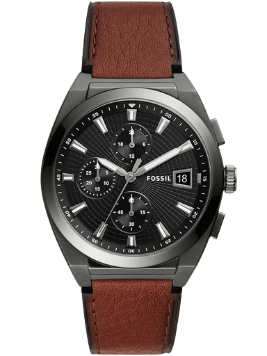 fossil everett chronograph amber leather watch-FS5799