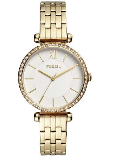 fossil tillie three-hand gold-tone stainless steel watch-BQ3498I