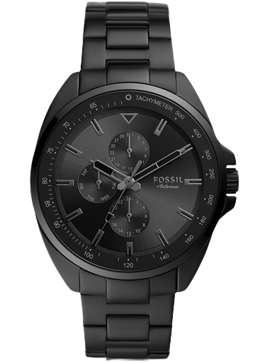 fossil autocross multifunction black stainless steel watch-BQ2551I
