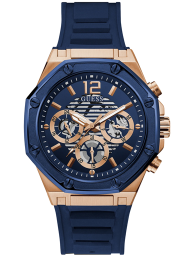 GUESS ROSE GOLD TONE CASE BLUE SILICONE WATCH-GW0263G2