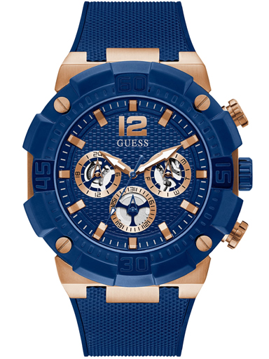 guess rose gold tone case blue silicone watch-GW0264G4