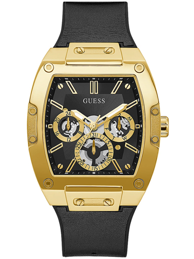 GUESS GOLD TONE CASE BLACK GENUINE LEATHER/SILICONE WATCH-GW0202G1