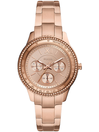 fossil stella sport multifunction rose gold-tone stainless steel watch-ES5106I