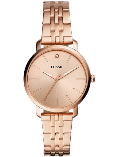 fossil lexie luther three-hand rose gold-tone stainless steel watch-BQ3567I