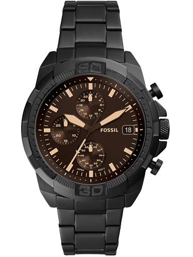 fossil bronson chronograph black stainless steel watch-FS5851I