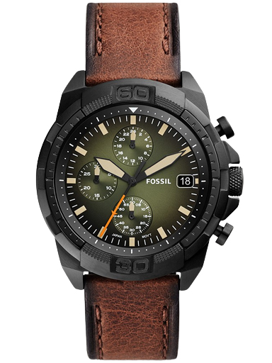 fossil bronson chronograph luggage eco leather watch-FS5856I