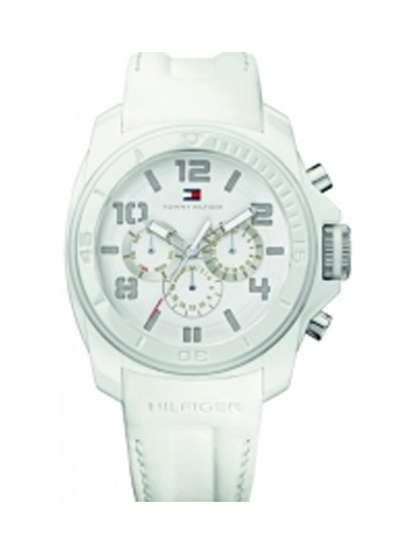 Tommy Hilfiger Chronograph White Dial Men's Silcon Watch -NTH1790773/D