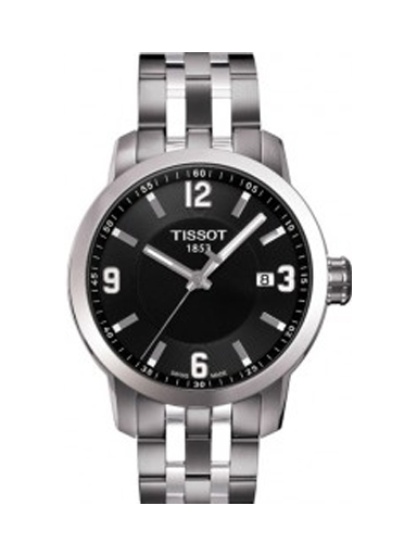 Tissot PRC 200 Quartz Black Dial Stainless Steel Sport Men's Watch-T0554101105700