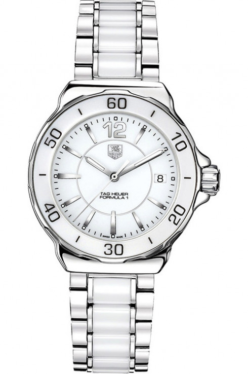 Tag Heuer Formula 1 White Dial Stainless Steel White Ceramic Ladies Watch-WAH1211.BA0861
