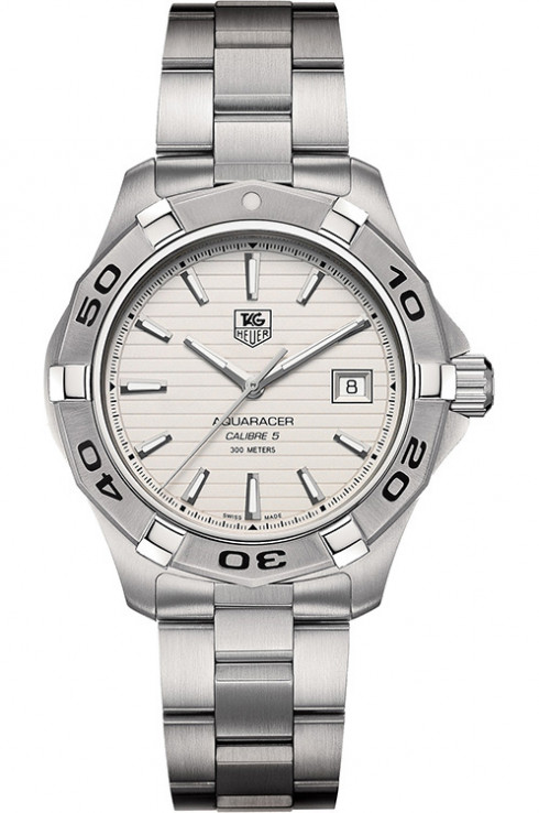 Tag Heuer Mens Aquaracer Calibre 5 Silver Dial Watch-WAP2011.BA0830