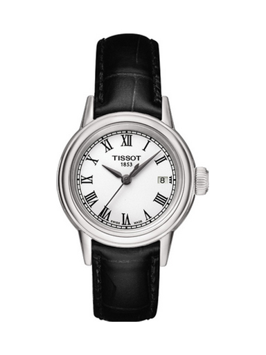 Tissot T-Classic Carson White Dial Black Leather Women's Watch-T0852101601300