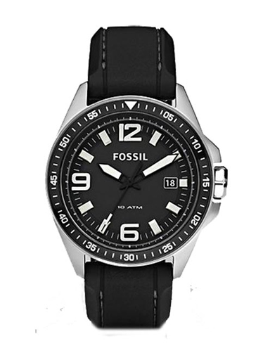 Fossil Men's  Silicone Quartz Watch with Black Dial-AM4356