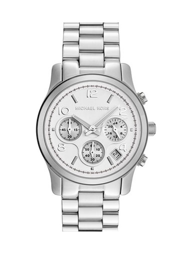 Michael Kors Women's Stainless Steel Quartz Chronograph Silver Tone Dial Watch- MK5076