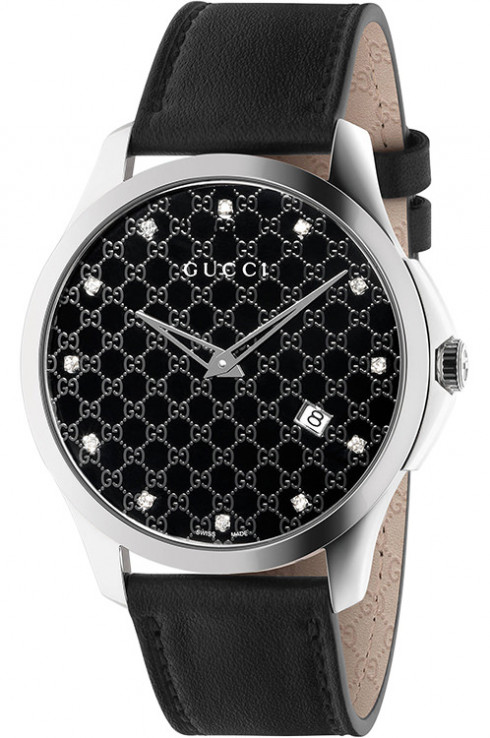 gucci g-timeless ya126305 black leather ladies watch-YA126305