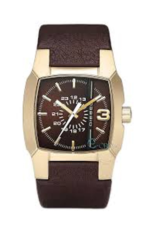 Diesel Unisex Brown Leather Strap Watch-DZ1297