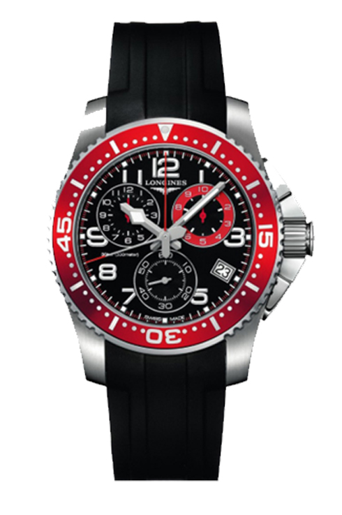 longines hydroconquest chronograph black dial stainless steel watch for men-L3.690.4.59.2