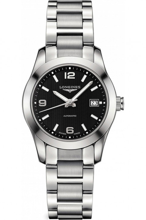 longines conquest classic black dial stainless steel ladies watch l22854566-L2.285.4.56.6