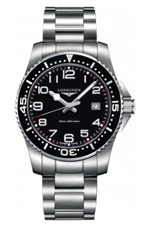 Longines Hydro Conquest Black Dial Stainless Steel Men's Watch-L3.689.4.53.6