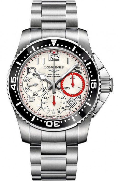 longines hydro conquest chronograph white dial stainless steel men's watch-L3.696.4.13.6