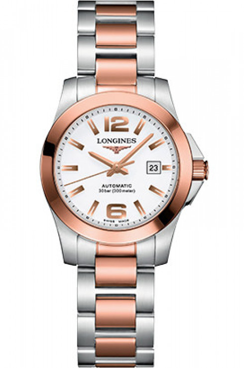longines conquest automatic 29 mm white dial ladies watch-L3.276.5.16.7