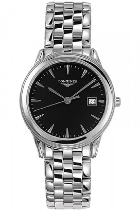 longines flagship black dial stainless steel men's watch-L4.716.4.52.6