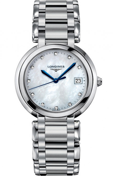 longines primaluna white dial diamond stainless steel ladies watch-L81144876