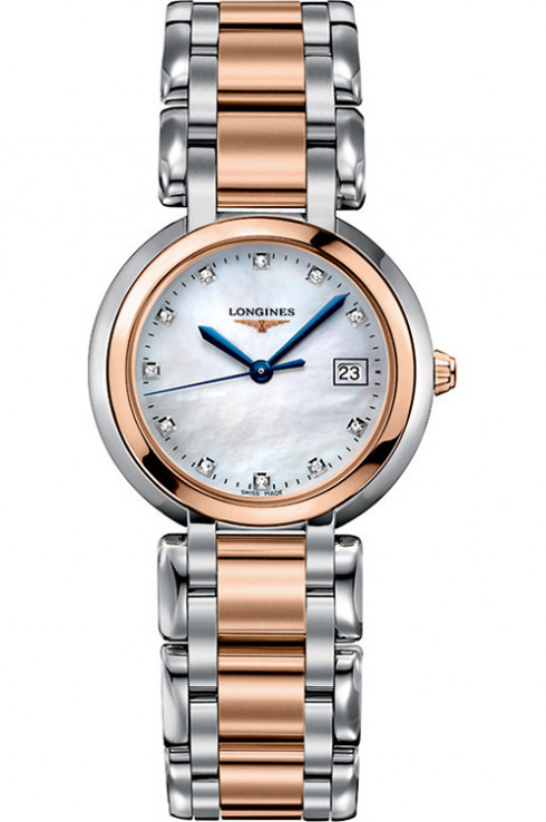 Longines Primaluna White MOP Stainless Steel and 18k t Rose Gold Dial Ladies Watch-L81125876